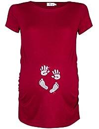 Happy Mama. Para Mujer Camiseta premamá T-Shirt estampado pies manos bebé. 013p