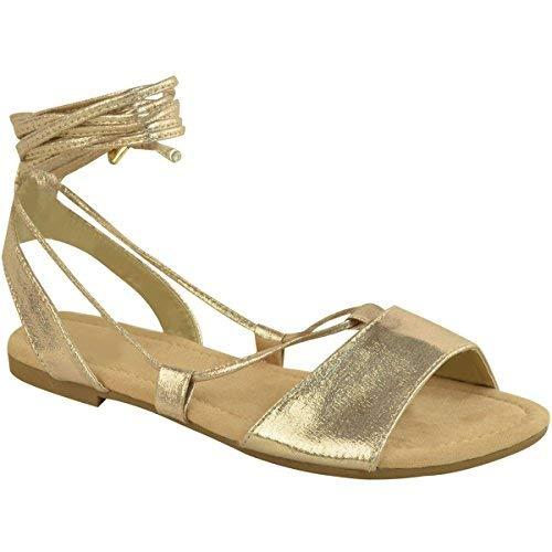Damen Gladiator-Sandalen flach - mit Riemen-Schnürung - Goldfarben  schimmernd - EUR 39 64625f0224