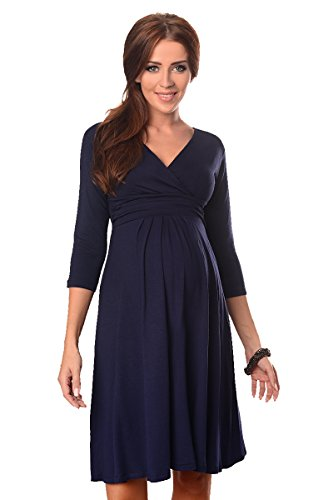 Purpless Maternity Herrlich V-Ausschnitt Kleid Mutterschaft Kleidung Top 4400 (36 (UK 8), Navy) (Tunika-kleid Mutterschaft)