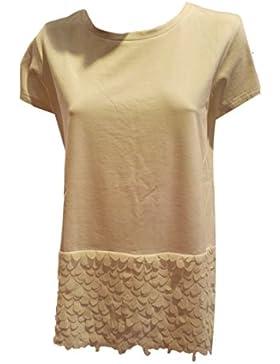 Folies BLUGIRL, t-shirt girocollo bianca, bordo effetto petali tg42