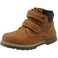 Apakowa Boys Two Touch Close Straps Classic Martin Boots Toddler Kids Outdoor Walking Hiking Ankle Boots Flat Shoes with Zipper (Color : Brown, Size : 7 UK Child)