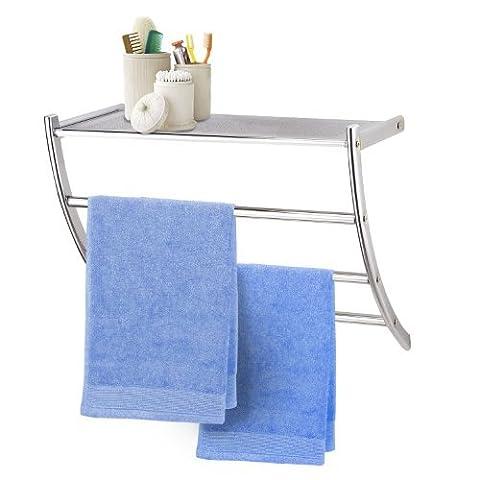 Top Home Solutions® Chrome Wall Mounted Bathroom Shelf with Towel Rail