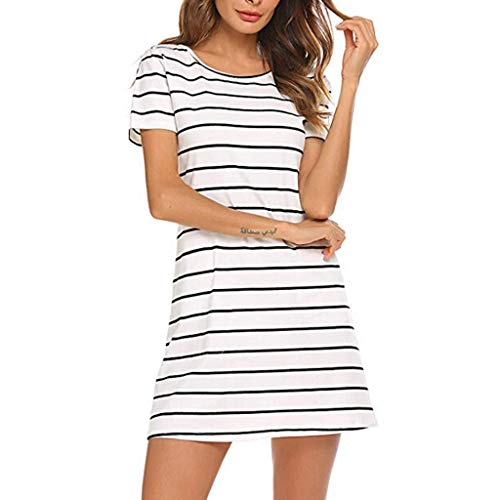 FeiXing158 2019 Frühling Sommer Neue Frauen Casual Striped Criss Cross Kurzarm T-Shirt Kleid mit Taschen Slim Fit Body Dress-in Kleider von Satin Wrap Front Dress