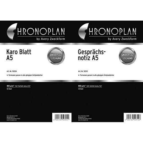 Chronoplan 50304 Formulare Karierte Blätter A5, 50 Blatt, weiß & 50312 Formulare Gesprächsnotiz (A5) 40 Blatt, weiß - Braune A5 Organizer