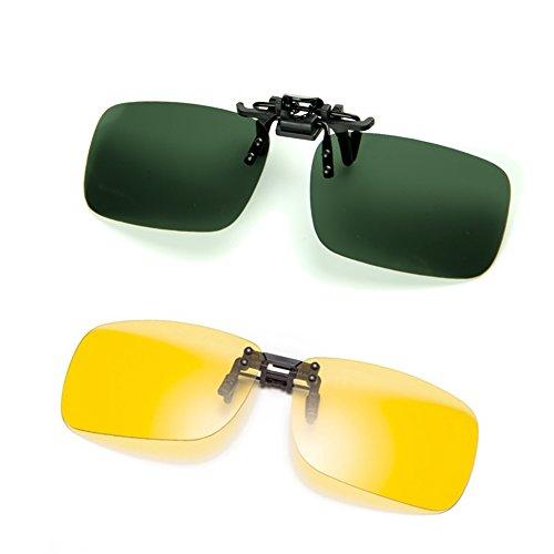 Cyxus 2 Packung Polarisierte Brille Clip Polarisierte Gläser Classic Sonnenbrille [Entspiegelten] [UV Schutz] Fahren/Fischerei/Sport/Night Vision Eyewear, Männer und Frauen