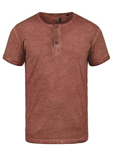 !Solid Tihn Herren T-Shirt Kurzarm Shirt mit Grandad-Ausschnitt Aus 100% Baumwolle, Größe:M, Farbe:Fox Brown (6792) (Kurzarm Vintage Poloshirt)