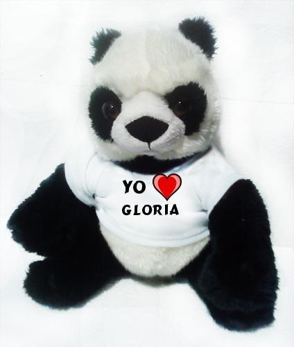 Panda de peluche (juguete) con Amo Gloria en la camiseta (nombre de pila/apellido/apodo)