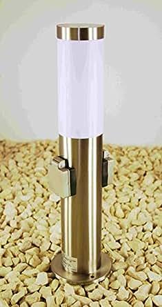 pollerleuchte mit steckdose 2 fach edelstahl lampe aussensteckdosen mit kinderschutz. Black Bedroom Furniture Sets. Home Design Ideas