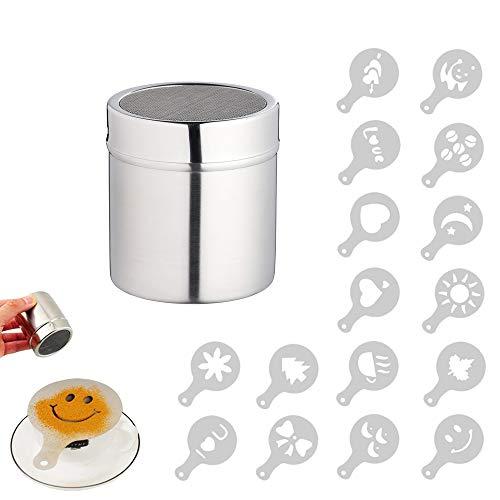 EQLEF Pulver Streuer, Kaffee Kakao Puder Streuer mit feinem Ineinander greifen, für Das Backen u....