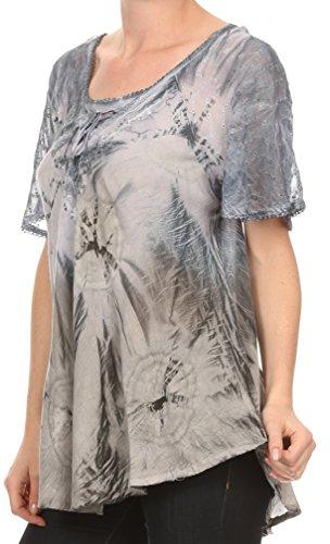 Sakkas Taylay Ombre Tie Dye Batik Lange gestickte Korsett Neck Bluse Shirt Top Grau