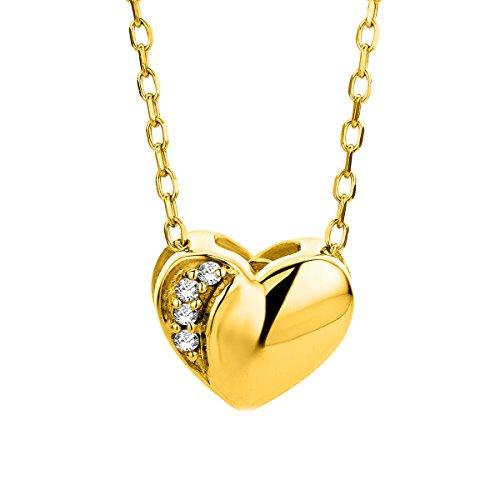 Miore Kette für Damen Schmuck Gelbgold 9 Karat/ 375 Gold HalsKette für Herz Anhänger mit Diamant Brillanten 45 cm