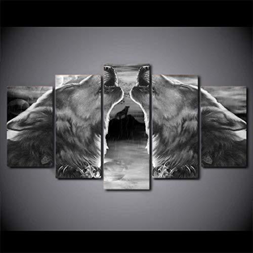 Fbhfbh Modulare Leinwand HD Gedruckt Wohnkultur 5 Stücke Schwarzer Wolf Heulen Malerei Tier Abstrakte Bilder Wandkunst Poster Gerahmte PENGDA-12x16/24/32inch,With frame (Wolf Tage Halloween 12 Von)