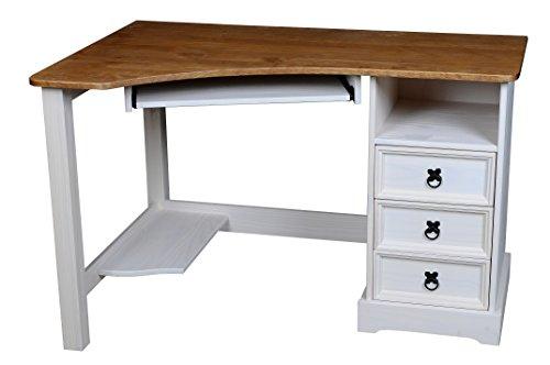 Eckschreibtisch Schreibtisch Mexico Computertisch Pinie Massivholz Tisch weiß