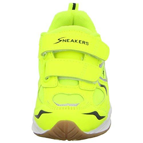 Sneakers 64102 Unisex Kinder Training mit Klettverschluss Grün (Gelb)