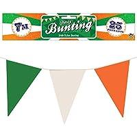 HENBRANDT St Patrick's Day 25 Pennant Irish 7M Green, White & Orange Bunting Decoration