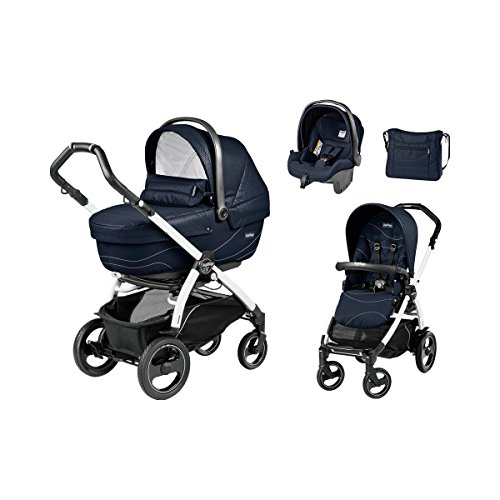 PEG-PÉREGO Book 51 XL S Kombikinderwagen Trio-Set mit Wickeltasche Design 2017 Baby, Bloom navy, Gestell weiß