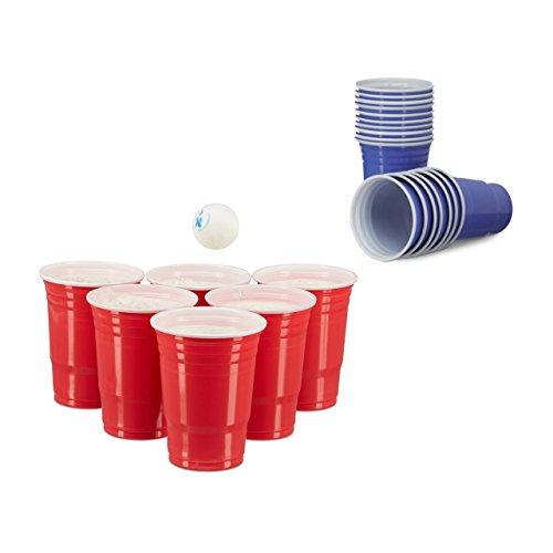 200 x Beer Pong Becher in Rot und Blau, Getränkebecher 473 ml / 16 oz, Partybecher US College Style, red, blue - Bier-cup
