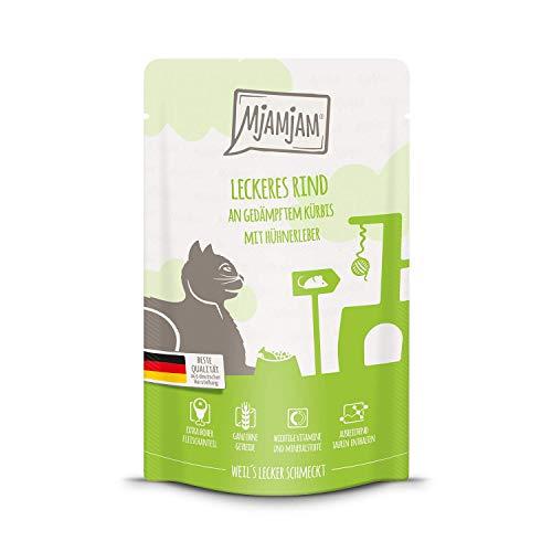 MjAMjAM - Premium Nassfutter für Katzen - Quetschie - leckeres Rind an gedämpftem Kürbis, 12er Pack (12 x 125 g), getreidefrei mit extra viel Fleisch -