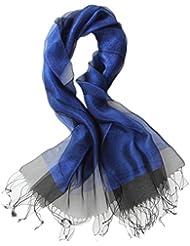 Prettystern - dekorativ zweilagig leicht Seide & metallisch Meterial schimmernd langer Schal - 11 Farben