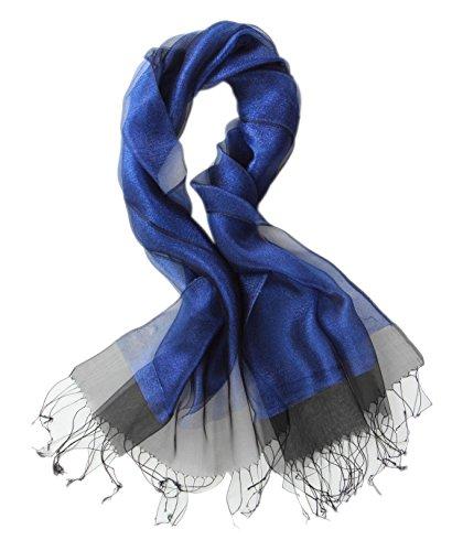 Prettystern - decorativo strati leggermente seta e materiale metallico luccicante lunga sciarpa - 9. blu