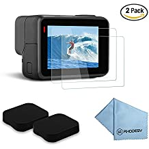 Rhodesy Pack de 2 Ultra-Clear Protector de Cristal Templado-LCD Pantalla + Tapa de la Lente para GoPro Hero 5 Acción Cámara