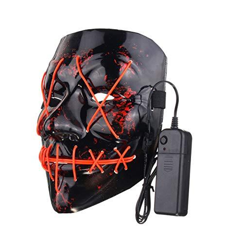 Jasnyfall Halloween Maske gruselige Gesichtsmaske Spaß LED Light -