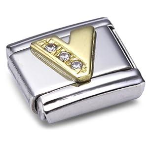 Nomination Comp. Classic BUCHST. Edelstahl, 18K-Gold und Cubic Zirc. (V) 030301