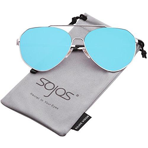 SOJOS Sonnenbrille Herren Damen Schick Fashion Flach Linsen SJ1083 mit Silber Rahmen/Blau verspiegelte Linse