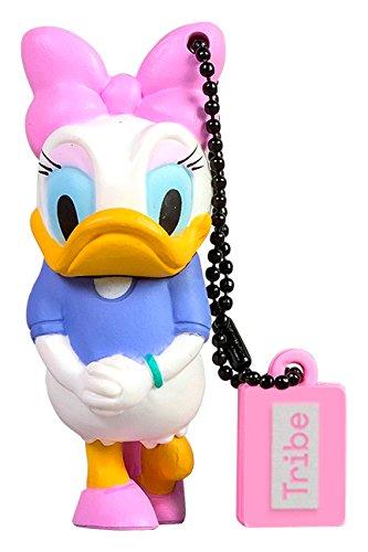 Tribe disney daisy duck chiavetta usb da 16 gb pendrive memoria usb flash drive 2.0 memory stick, idee regalo originali, figurine 3d, archiviazione dati usb gadget in pvc con portachiavi