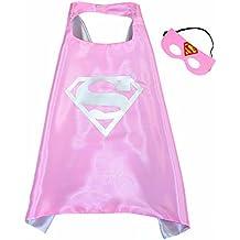 Supergirl Pink Superwoman Cape und Maske - Superhelden-Kostüme für Kinder - Kostüm für Kinder von 3 bis 10 Jahre - für Superheld Mottopartys! Spielsachen für Mädchen - King Mungo - KMSC018
