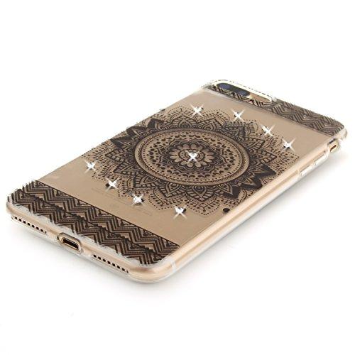 iPhone 8Plus Hülle, Glitzer-Strass CLTPY iPhone 7Plus Handytasche Transparent Ultradünne Silikon Back Cover mit Blumen Malerei Muster für Apple iPhone 7Plus/8Plus + 1 X Stift - Schwarze Blume Schwarze Mandala