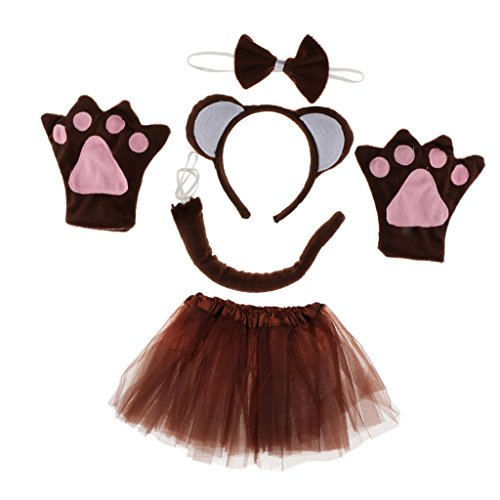 Anbau Pack of 5 Animal Monkey Ears Headband Bow Tail Tutu Skirt Set Costume Accessories