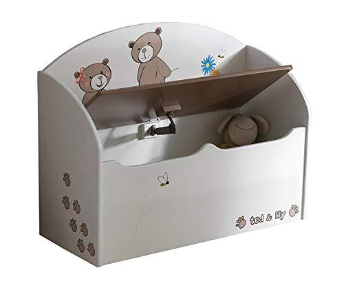 habeig Spielzeugtruhe Truhe Spielkiste Sitzbank Kiste Kinderbank für Kinderzimmer (Beige/Chocolate)