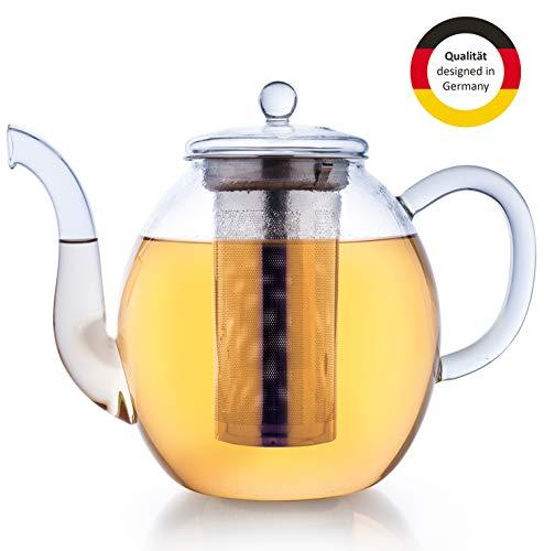 Creano Glas-Teekanne 1,5l, 3-teiliger Teebereiter mit integriertem Edelstahl-Sieb und Glas-Deckel, ideal zur Zubereitung von losen Tees, tropffrei, all-in-one -