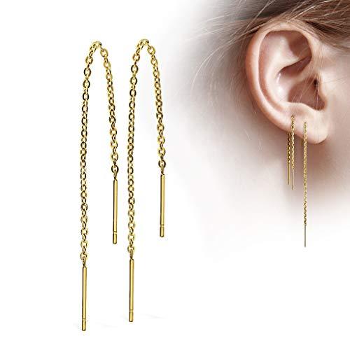 Treuheld® | GOLDENE Ohrstecker mit Kette - Edelstahl Ohrringe in Gold mit Stab - glänzende Ohrstecker für Damen und Kinder - sehr elegant - ohne Verschluss