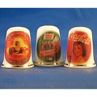 Porcelana China colección de dedales de tres Coca Cola de publicidad