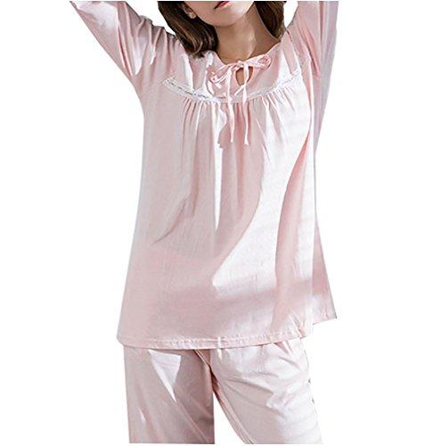 Damen Pyjama Set Loungewear Set Pyjama Top Baumwolle Nachtwäsche, pink, M (Günstige Damen Seide Roben)