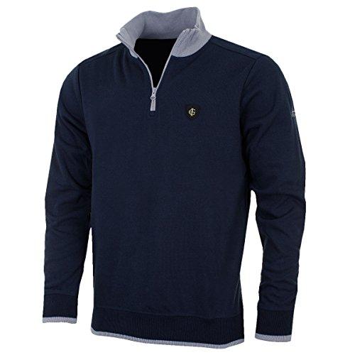 2017 Island Green Logo Chest 1/4 Zip Bonded Knit Sweater Mens Golf Thermal Pullover Navy Medium