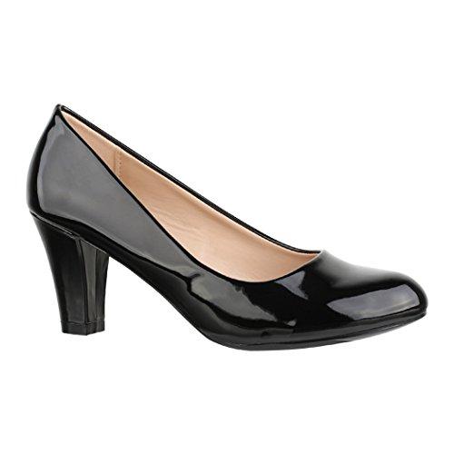 Elara Damen Pumps | Bequeme High Heels Lackoptik Trichterabsatz | Vintage-Style | Chunkyrayan 7056-P-Black-39