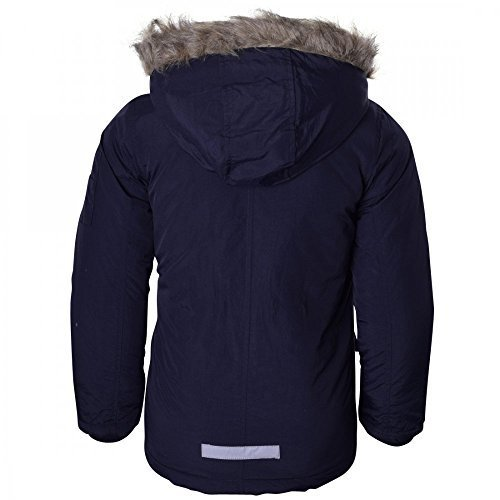 Childrens Boys Winter Parka Coat Fur Borg Lined Hood School Jacket - Black Blue 7/8 Years Navy Blue