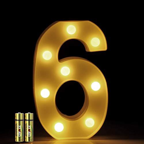 HONPHIER® LED Nummer Licht 3D Nummer Lampe Buchstaben Lichter Alphabet Lampe LED Brief Beleuchtung Buchstabe Licht Beleuchtete Buchstaben Nachtlichter Dekoration für Geburtstag Party (6) (Alphabet Buchstaben 3d)