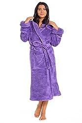 Ladies Fleece Dressing Gown Luxury Snuggle Fleece Shawl Robe Pug Dog Novelty Size UK S M L XL