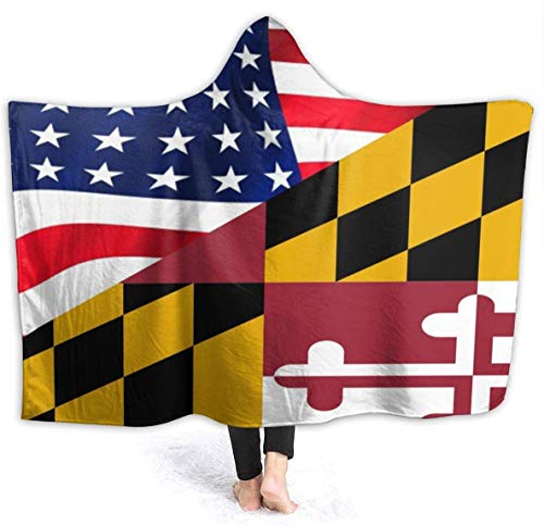 remmber me Marylands-Flagge und Amerika-Flagge mit Kapuze Decke tragbare Sherpa-Decke Wende-Decke weiche Polyester-Fleece-Decke für Kinder Erwachsene 59 x 15,8 Zoll -