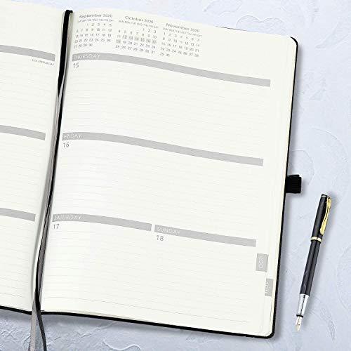 210x297mm 12 meses A4 Agenda Semana Vista Negro Agenda 2020