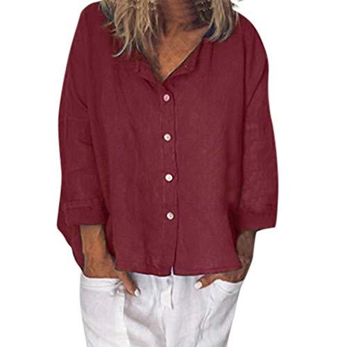 Zolimx Damen Leinenblusen,Frauen Casual V-Ausschnitt Plus Size Button Solide Leinen Lose Tägliche Bluse Shirt Tops - Damen Leinen Drawstring-hose