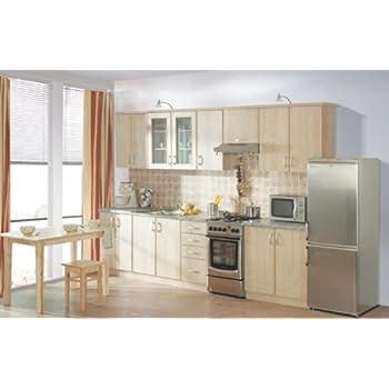 Küche sydney ahorn 310cm küchenzeile küchenblock variabel stellbar in ahorn