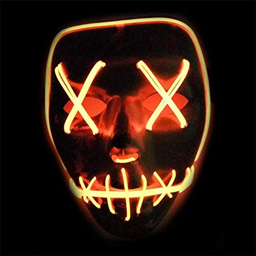 Masken Festival Party Cosplay LED Leuchten Maske Karneval Maske Halloween Accessoires Grimasse Maske Batterie Angetrieben (Orange) ()