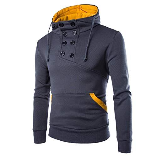 Zottom Autumn Männer Langarmshirt Patchwork mit Kapuze Sweatshirt Outwear-Spitze T-Bluse