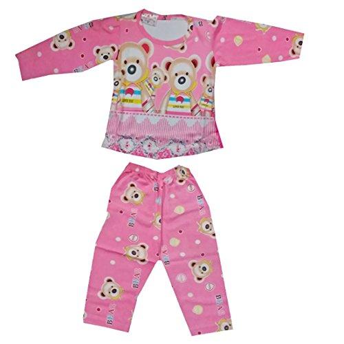 Baby Basics Baby Girl's Full Sleeves Hoseiry Cotton Night Suit Set - Pink