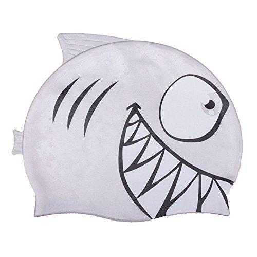 Badekappe für Kinder,DINOWIN Niedlicher Fisch Schwimm Kappe Mütze Silikon Swimming Cap Super-Stretch Wasserdicht Badekappe (Grauer Hai)